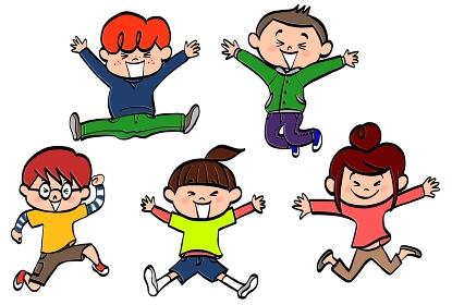 小学生の男の子と女の子がジャンプ
