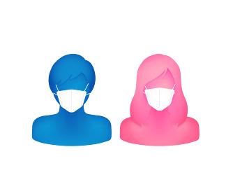 マスクをした抽象的・立体的な人物シルエットイラスト(上半身) / 男性と女性・夫婦・カップル