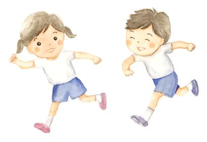 走る子どもたち 水彩イラスト