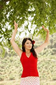 Flamenco Dancer Dancing Outdoors