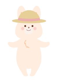 麦わら帽子をかぶって熱中症対策するうさぎ