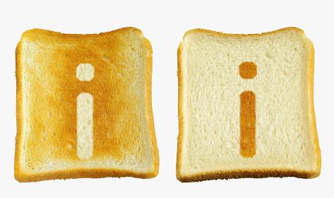 食パンに焼印風のアルファベットの小文字のi