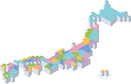ブロックで構成した日本地図
