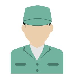 上半身シルエット人物イラスト (アジア人・日本人・白人) / 労働者・作業員・清掃員・軍人
