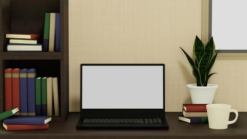 本棚とノートパソコンとコーヒーカップと観葉植物の背景 3DCG 部屋 書斎