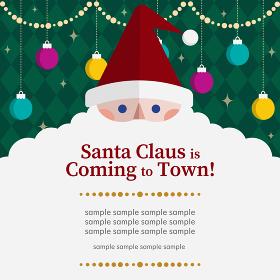クリスマス背景素材、サンタクロースとオーナメント