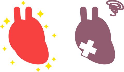 シンプルな健康・不健康な心臓のイラスト 内臓 循環器