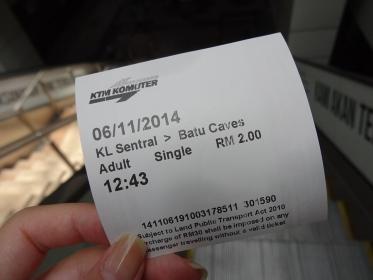 電車のチケット(マレーシア・マレー鉄道)