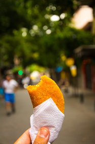 Delicious empanada food in close up view, Medellin, Antioquia, Colombia
