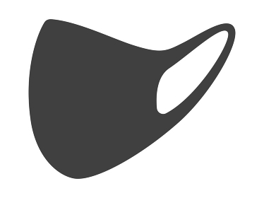 折りたたんだ黒マスクのイラスト
