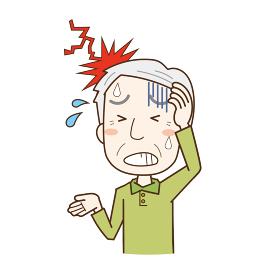 強い頭痛で苦しむ高齢男性