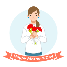 カーネーションを持って微笑む母親 - 母の日コンセプトイラスト