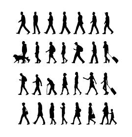 歩いている人物・歩行者 全身(横向き)シルエットイラストセット