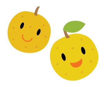 かわいい2つの梨のキャラクター