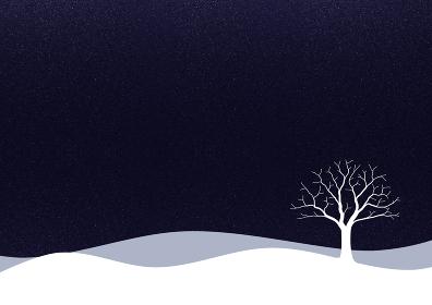 一本の木がある雪景色のイラスト 1