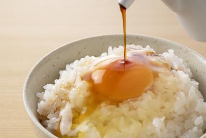 卵かけご飯のクローズアップ