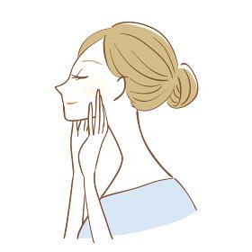 女性のスキンケアのイメージイラスト