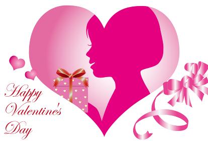 女の子のシルエットのバレンタインカード