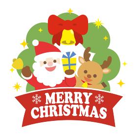 サンタとトナカイのクリスマスイラスト