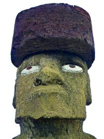 チリ・イースター島にて眼まで復元したタハイのモアイ・コテリク像の顔クローズアップ