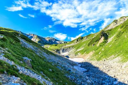 爽やかな山脈と雪渓