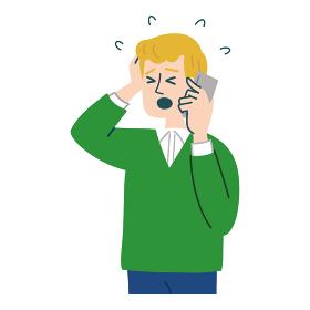 男性 外国人 ブロンド 携帯電話 スマホ 衝撃 焦っている