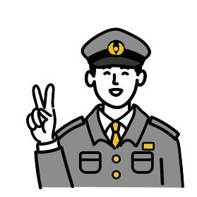 男性 若い 警察官 ベクター ポップ いいね ピース