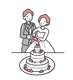 結婚式でカラードリップをする新郎新婦のイラスト