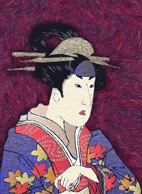 浮世絵 歌舞伎役者 女性 その1 油絵バージョン