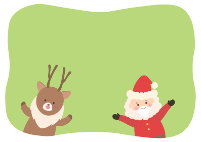 サンタクロースとトナカイのフレームイラスト