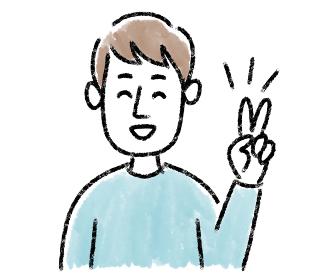 男性 若い ピース 水彩 手描き
