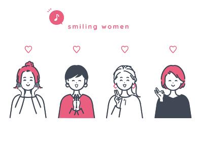 嬉しそうな女性のイラスト素材