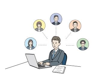 リモートワーク テレワークネットワーク 連携 パソコン作業 会社員 男性 イラスト素材