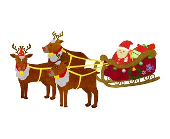 クリスマスプレゼントを配りに行くサンタとトナカイ