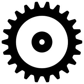 歯車・ギア ベクターアイコンイラスト(黒)
