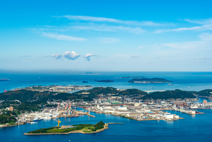 風師山展望台から望む巌流島(山口県)