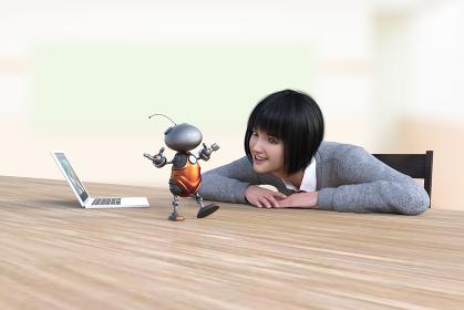 椅子に座ったボブヘアの学生の女の子がAIをプログラミングしたかわいいロボットが話しながら歩く