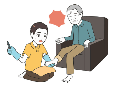 高齢男性のフットケア 深爪 男性介護士