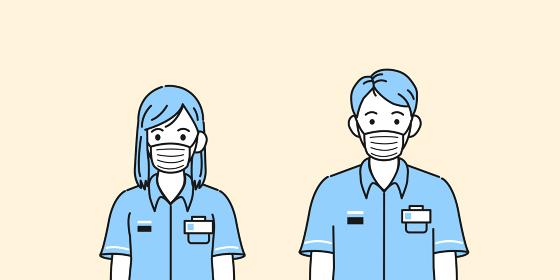 マスクをつけたコンビニの店員 感染予防 アルバイト 男女 イラスト素材