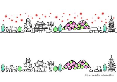 新型コロナウイルスと奈良の街並みシンプルイラスト