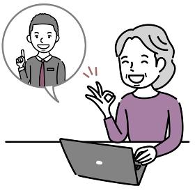 オンライン外国語講座を楽しむ女性のイラスト素材