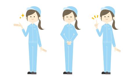 女性工場作業員セット(手で指し示す・お辞儀・指差し)ベクターイラスト