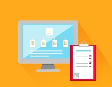 File system concept design style. Technology data, computer information, web network internet, business communication, digital server, storage cloud, connection computing management illustration