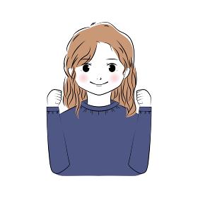 ガッツポーズをするロングヘアの若い女性のイラスト(上半身)