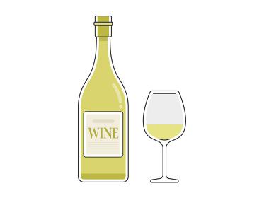 白ワインのボトルとグラスのイラスト