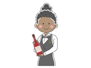 ワインを紹介する黒人女性ソムリエのイラスト