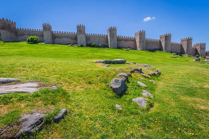 scenic medieval city walls of avila,spain,unesco list