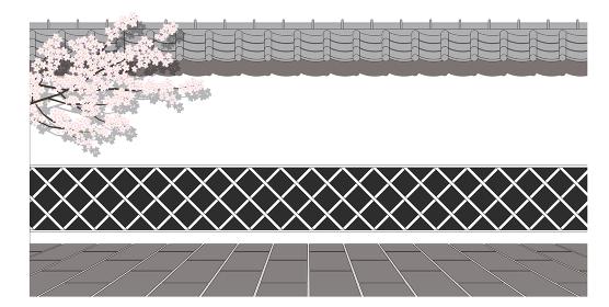 桜と和風なまこ壁の正面パース
