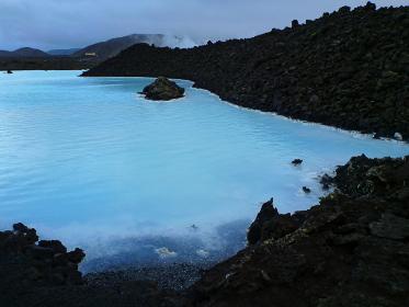 アイスランド・レイキャビク近郊にて世界最大の温泉施設ブルーラグーンのクローズアップ