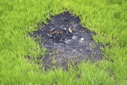 畑の露天焼却の跡